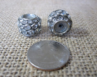 2 pc of LARGE rhinestone spacer beads 17mm x 13mm