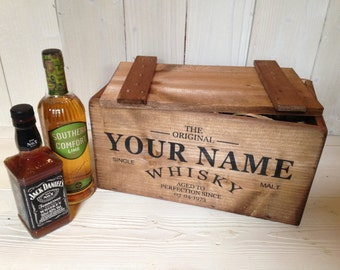 Personalised Whisky Wooden Crate Storage Box with Lid