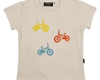 Child's T-Shirt with embroidered BMX design.   T-Shirt made in England