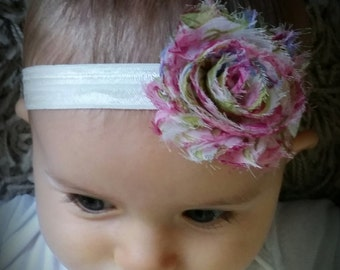 Baby girl headband. toddler headband. floral shabby flower headband