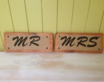 Mr and Mrs Timber Signs - Free Standing or can be Hung from the Bride and Grooms chairs etc