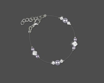 ALLY bridal bracelet with Swarovski crystal clear bicones and Cczech glass mauve pearls