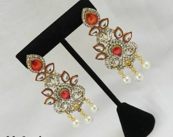 SALE PRICE REDUCED Designer Pink Kundan Earrings Bollywood Jewelry Indian Jewellery Kundan Earrings Pink Earrings