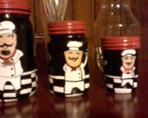 Bon Appetit Fat Chef Kitchen Art Instant - Set of 3 hand painted fat chef man bistro themed mason jar canister