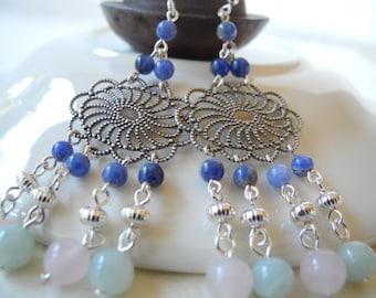 Gemstone Chandelier Earrings, Bohemian Earrings, Chandelier Earrings, Gemstone Earrings, Sterling Silver Earrings