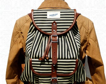 Striped Canvas & Leather Backpack / Rucksack / Day Pack / Work Bag for Men. navy/cream stripes