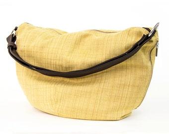 mustard handbag - canvas hobo bag - canvas bag - over shoulder bag - canvas shoulder bag - womens handbags - womens bags - HADAR 8007