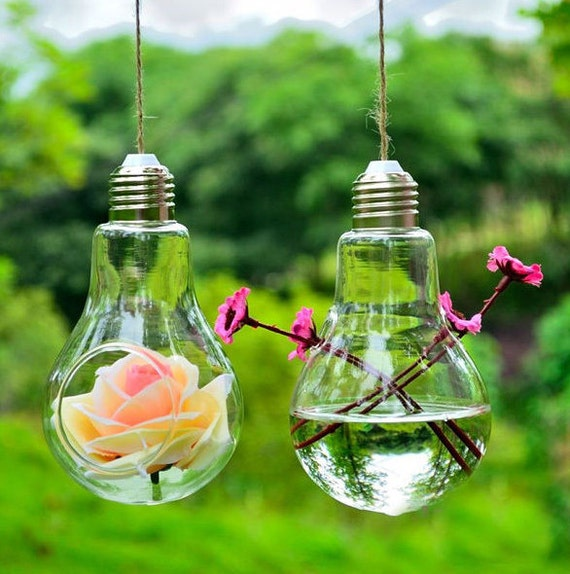 hanging light bulb shape glass vase flower plant by satim3. Black Bedroom Furniture Sets. Home Design Ideas