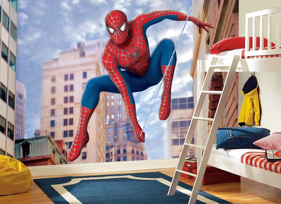 Spiderman Wall mural, Wallpaper, Wall décor, Wall decal, Nursery and room  décor, Wall art