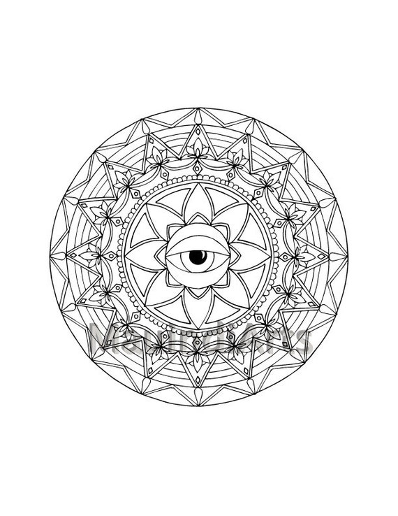 Mandala Inner Eye Hand Drawn Adult Coloring Page by