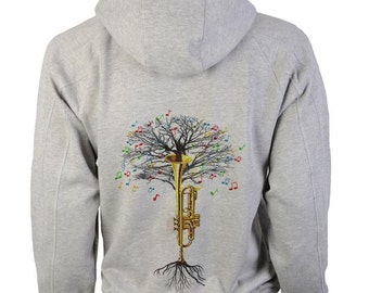 Trumpet Hoody Musical Tree Jazz in sizes up to XXL