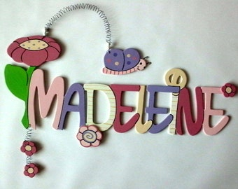 """Door sign, name plate """"Flower with Butterfly"""""""