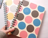 A5 Spiral Grid Notebook, A5 Spiral Drawingbook, A5 Spiral Journal, A5 Spiral Scrapbook, A5 Spiral Bound Diary, Bubble Pop Dots Notebook