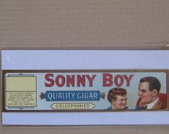 2 Labels 1910s Vintage Paper Cigar Box Label Sonny Boy Embossed & Gilded