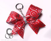 Stars & Swirls Metallic Cheer Bow Keychain - you choose the color