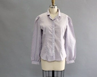 vintage button up shirt . lavender pinstripe shirt . long sleeve . 80s western blouse
