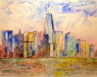 NYC Skyline Original Mixed media painting