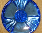 """1"""" Vintage Deco Blue Depression Glass Button Triad Pattern with Triangle in Circle"""