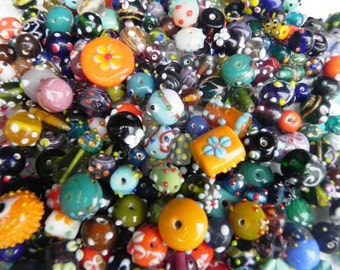 lampwork 2 Pounds SUPER DELUX  glass beads Supplies - Awesome  wholesale bumpy beads  mix  handmade