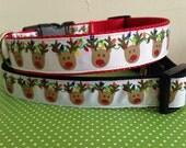 Large 1 inch Lights and  Reindeer Christmas Holiday Dog Collar