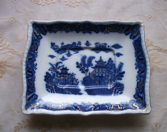 English Pottery WILLOW BLUE & WHITE Gilded Plate Pountney Bristol 1920s-30s