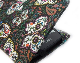 "cute Kindle Cover - Sugar Skull Butterflies - Kindle Voyage cover, Touch, Paperwhite, Kindle Fire 6"", Kobo Touch hardcover eReader case"
