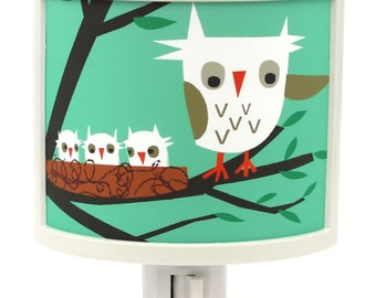 Owls are Hoo owl mama bird babies Cute Nursery Bathroom hallway Bedroom GET IT nightlight Nite Lite