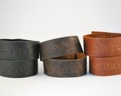 """Set of Two Leather Cuffs - """"Drift"""" and """"Compatible"""""""