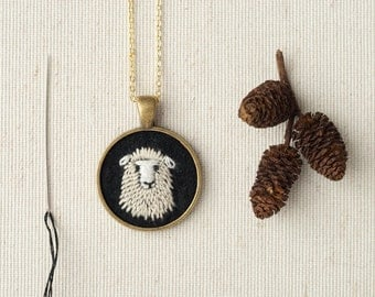Sheep Necklace - Dolly the Sheep Embroidered Wool Felt Necklace - Animal Portrait - Circle Pendant - Farm Animal
