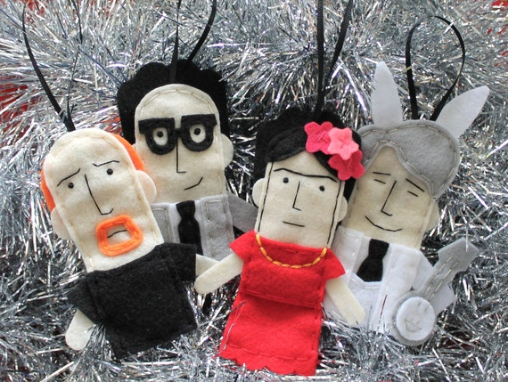 Louis CK ornament, Ira Glass ornament, Frida Kahlo ornament, Steve Martin ornament