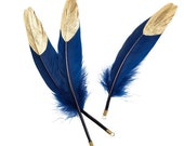 Set of 6 Royal Blue Goose Feathers with painted gold tips