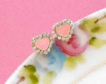 Tiny Heart Earrings, Bridal Rhinestone Earrings, Pink Rhinestone Earrings, Valentine's Day Gift For Her, Small Studs Handmade KreatedByKelly