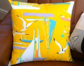 Fab Nautical Vintage 1970's Cushion Cover - Seagulls and Sailing Boats