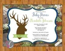 Buck Camo Invite Oak Camouflage Navy Lime Brown Boy Baby Shower Forest Woods Deer Silhouette Invitation Hunting Digital JPG 5x7 (188)