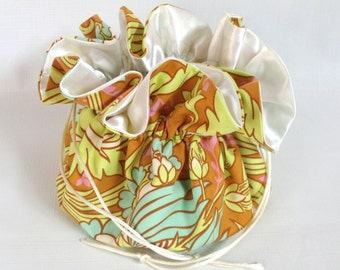 Drawstring Jewelry Travel Pouch Amy Butler Temple Tulips in Cinnamon Extra Large