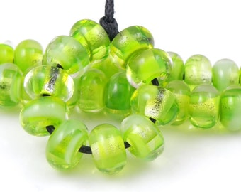 Absinthe Minded Swirly Spacers - Handmade Artisan Lampwork Glass Beads - 5mmx9mm SRA (Set of 10 Spacer Beads)