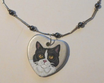British Shorthair Cat Necklace hand Painted Ceramic Pendant jewelry