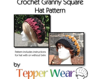 Crochet Hat Pattern - Retro Granny Square Hat - Crochet Beret Slouchy Hat with Brim or Without - Instant Download