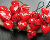 Vivid Red hearts, lampwork bead sets and trios made to order