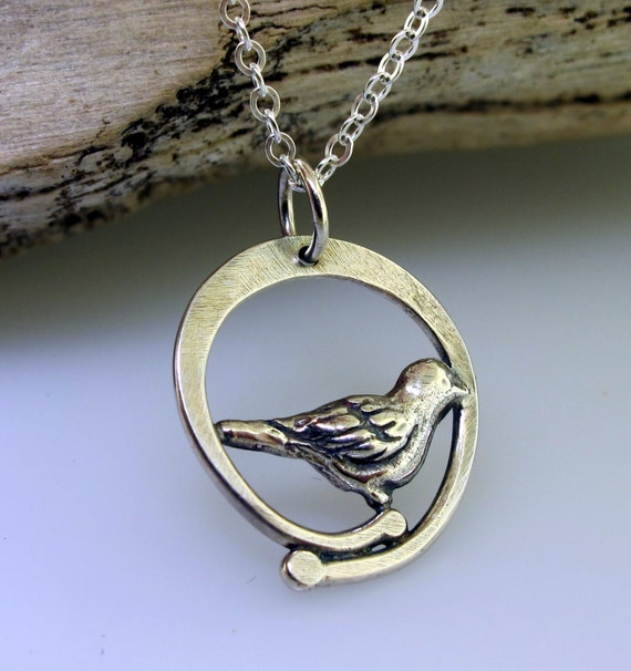 Silver Bird Charm Necklace, sterling silver necklace by Kathryn Riechert
