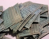 Vintage Green Admit One Tickets- package of 50 loose tickets, ephemera, paper collages, assemblage