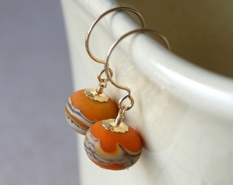 Lampwork Glass Earrings - Orange Glass Earrings - lampwork glass bead earrings - Glass Drop Earrings - gold filled