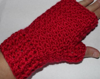 Ruby Red Fingerless Mitts Mittens Gloves Crochet Pattern Caron Simply Soft Intermediate