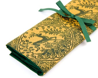 Large Knitting Needle Case - Lineage - 30 green pockets for straights, circulars, dpns and notions
