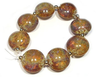 Handmade Lampwork Beads, Small Raku Glass  Lentils, Raku Beads