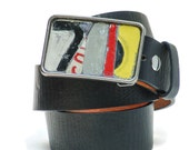 Belt Buckle 7 License Plate Mosaic Recycled Metal Vintage Metal Black Number Red Yellow Mens Fashion Womens Belt Buckles Industrial