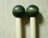 Handcrafted Wood Knitting Needles US size 15 Hand dyed Green Top