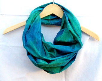 Blue Green Batik Infinity Scarf