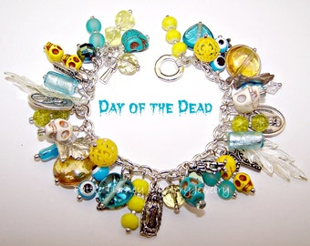 DAY of the DEAD (Dia de los Muertos ) Charm Bracelet