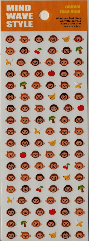 Mind Wave Animal Face Mini Sticker Set - Monkey